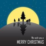 剪影圣诞老人和树 免版税库存照片