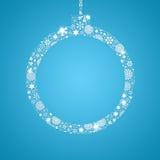 剪影圣诞节球充满雪花 库存照片