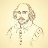 剪影在葡萄酒样式的威廉・莎士比亚画象 向量例证