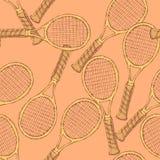 剪影在葡萄酒样式的网球设备 库存图片