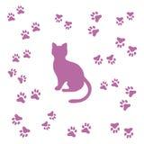 剪影坐的猫和动物踪影的好的图片 免版税库存图片