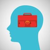 剪影外形企业手提箱概念 免版税图库摄影