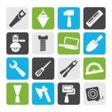 剪影大厦和建筑工具象 库存例证