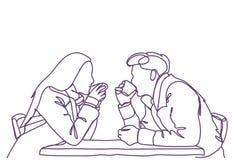 剪影夫妇坐在约会白色背景的咖啡馆表饮用的咖啡或茶、乱画男人和妇女 向量例证