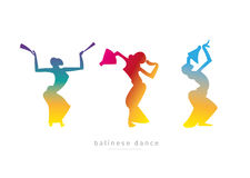 剪影女孩 巴厘语舞蹈 免版税库存照片
