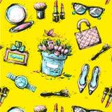 剪影女性时尚accesorize在黄色背景的无缝的样式 图库摄影