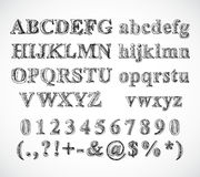 剪影字母表字体 免版税库存照片