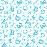 剪影字母表无缝的样式 免版税库存照片
