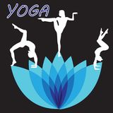 剪影少妇实践的瑜伽 女孩pilates 在抽象背景的传染媒介 图库摄影