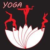 剪影少妇实践的瑜伽 女孩pilates 在抽象背景的传染媒介 库存图片