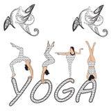 剪影少妇实践的瑜伽 女孩pilates 在抽象背景的传染媒介 免版税库存照片