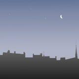 剪影屋顶在黎明,例证 免版税图库摄影