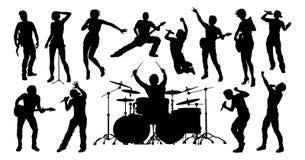 剪影岩石或流行音乐乐队音乐家 免版税库存图片