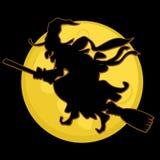 剪影巫婆和月亮 库存图片