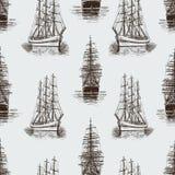 剪影帆船的样式 免版税库存照片