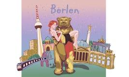 剪影式的可爱的女孩在德国背景 传染媒介illu 库存图片