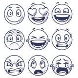 剪影微笑 乱画面带笑容用不同的情感 手拉的微笑的面孔,意思号传染媒介集合 向量例证
