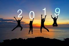 剪影愉快的企业配合跳跃的祝贺毕业在新年快乐2019年 自由生活方式小组人跳a 库存图片