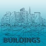 剪影房子和大厦 在传染媒介的简单派等高 蓝色 向量例证