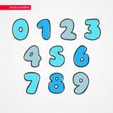 剪影数字 被隔绝的装饰滑稽0 1孩子的2 3 4 5 6 7 8 9个象 设计的标志 库存照片