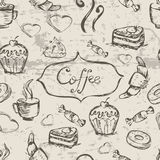 剪影无缝的样式用咖啡和甜点 传染媒介手凹道 库存例证
