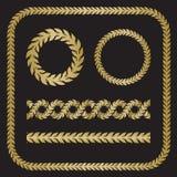 剪影月桂树花圈用不同的形状 图库摄影