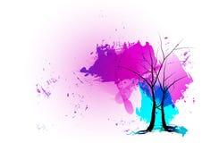 剪影树冬时有紫色背景 水彩设计,传染媒介例证 免版税库存照片