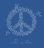 剪影样式和平鸠标志蓝色背景EPS10文件。 库存照片