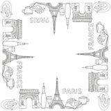 剪影样式手拉的巴黎框架 库存图片