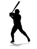 剪影棒球运动员 免版税库存图片
