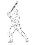剪影棒球运动员 免版税图库摄影