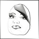 剪影概述传染媒介眼睛嘴唇面孔头发看得倾斜地 免版税库存照片