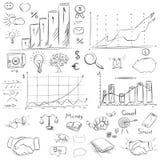 剪影汇集在传染媒介的企业元素 徒手画画 向量例证
