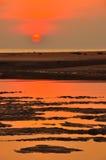 剪影沙子和日落在海滩 免版税图库摄影