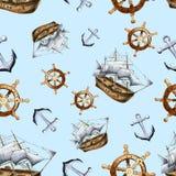 剪影海航海无缝的样式 免版税库存照片