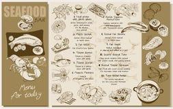 剪影海鲜餐馆菜单模板 向量例证