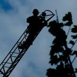 剪影消防队员系列四八 免版税库存照片