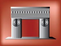 剪影由亲吻雕塑的门启发了 向量例证