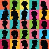 剪影的具体化 用不同的发型的外形 免版税库存照片