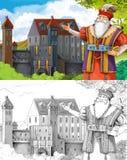 剪影着色页-艺术风格童话 免版税库存照片