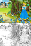 剪影着色页-艺术风格童话 免版税库存图片