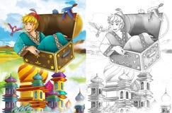 剪影着色页-艺术风格童话 库存图片