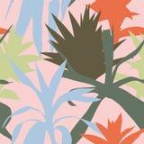 剪影种植桃红色叶子无缝的背景 库存图片