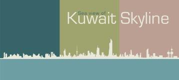 剪影科威特的地平线海视图  免版税库存图片