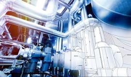 剪影管道系统设计与工业设备照片混合了 库存图片