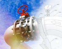 剪影管道系统设计与工业设备照片混合了 免版税库存照片