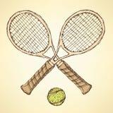 剪影网球设备 库存图片