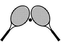 剪影网球 库存图片