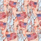 剪影自由女神像和旗子,无缝的样式 免版税库存照片