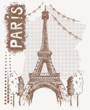 剪影艾菲尔铁塔在巴黎,法国 在葡萄酒样式的向量例证 T恤杉设计用画艾菲尔铁塔的手 免版税库存照片